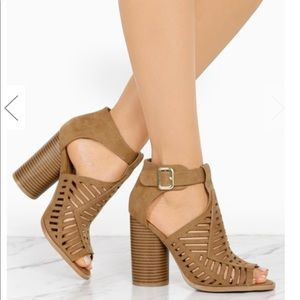 ladies peep toe chunky heels caged sandals. Camel